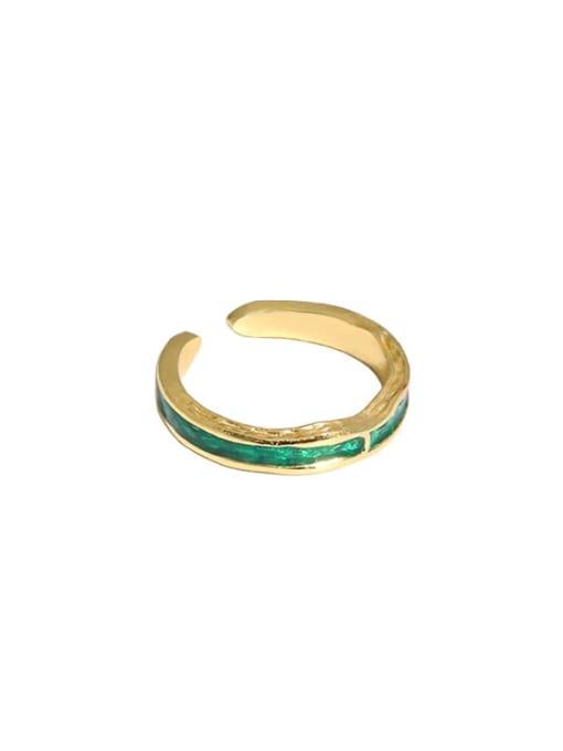 18K gold [green] 925 Sterling Silver Enamel Irregular Vintage Band Ring